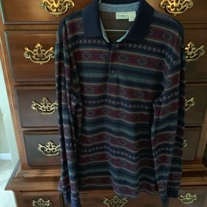 LLBean long sleeved polo shirt size M